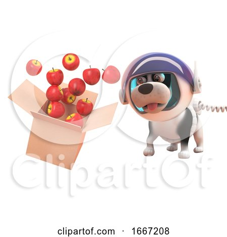 3d Puppy Dog in Astronaut Spacesuit Watching Apples Spill from a Cardboard Box in Zero Gravity, 3d Illustration Posters, Art Prints