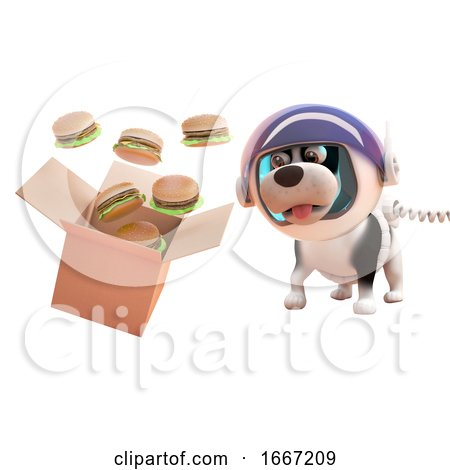 3d Puppy Dog in Astronaut Spacesuit Watching Cheeseburgers Spill from a Cardboard Box in Zero Gravity, 3d Illustration Posters, Art Prints