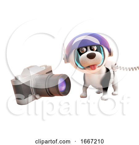 3d Cute Puppy Dog Wearing a Spacesuit Looking at a Camera in Zero Gravity, 3d Illustration Posters, Art Prints