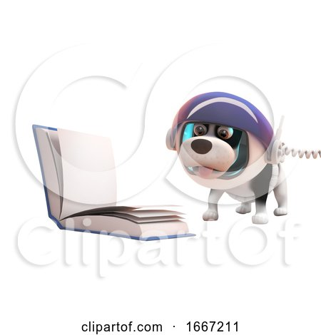 3d Cute Puppy Dog Wearing Astronaut Spacesuit Reading a Book in Zero Gravity, 3d Illustration Posters, Art Prints