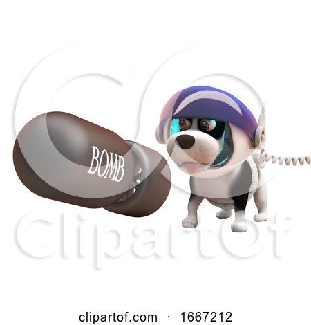 3d Puppy Dog in Astronaut Spacesuit Watching a Nuclear Bomb Fall, 3d Illustration Posters, Art Prints