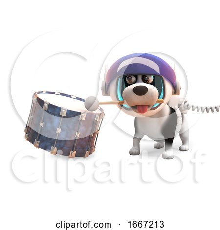 3d Puppy Dog with Spots in Spacesuit Beating on a Drum, 3d Illustration Posters, Art Prints