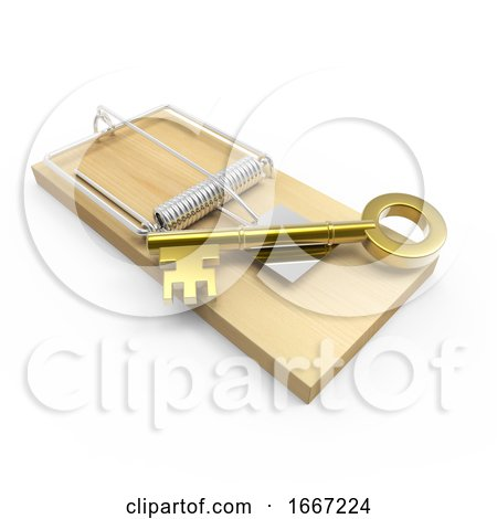 3d Gold Key on a Mousetrap Posters, Art Prints