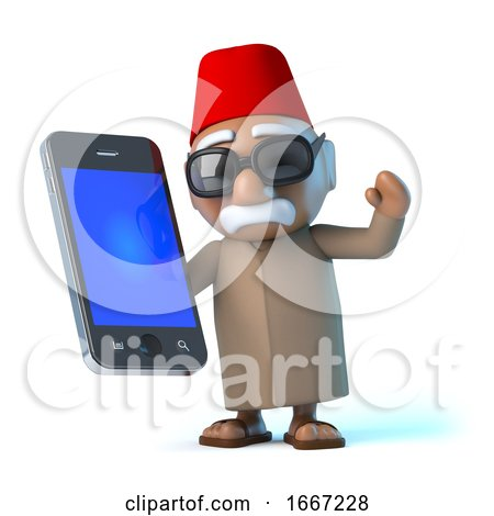 3d Moroccan Using His Smartphone by Steve Young