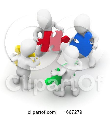 3d Men Work Together Posters, Art Prints