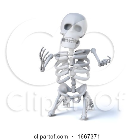 3d Skeleton Pleads on His Knees by Steve Young