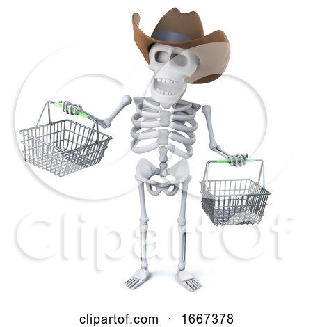 3d Cowboy Skeleton Goes Shopping by Steve Young