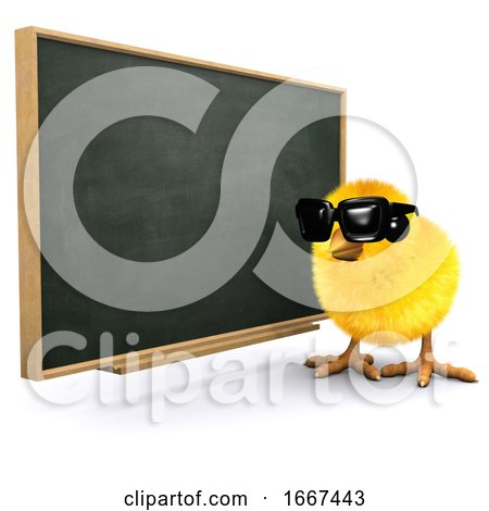 3d Baby Chick at the Blackboard Posters, Art Prints