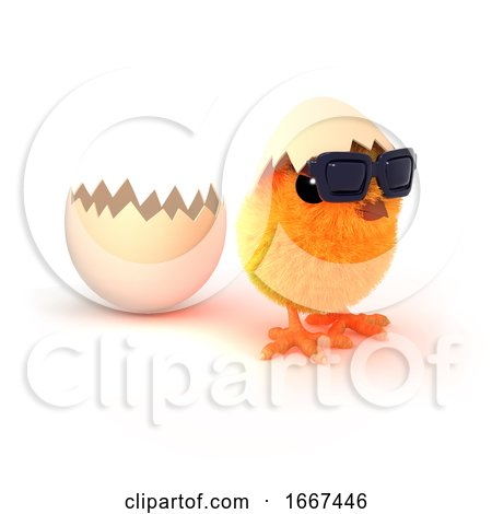 3d Easter Chick Runs from the Egg Posters, Art Prints