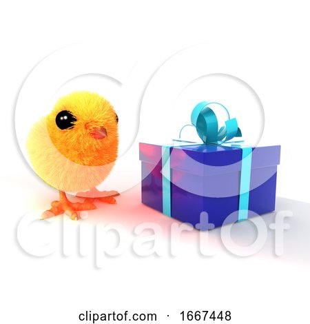 3d Easter Chick Blue Present Posters, Art Prints