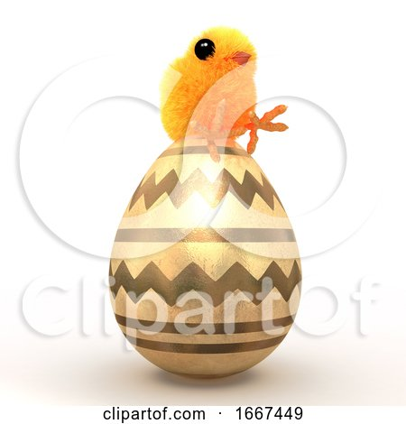3d Easter Chick Sits on a Golden Egg Posters, Art Prints