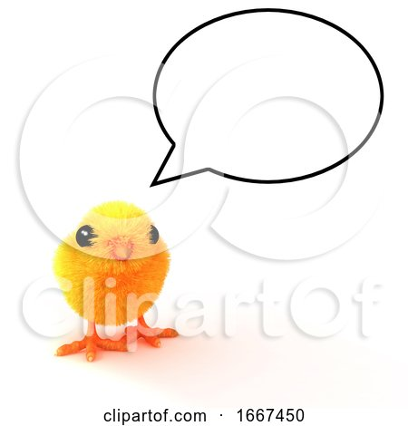 3d Baby Chick with Speech Balloon Posters, Art Prints
