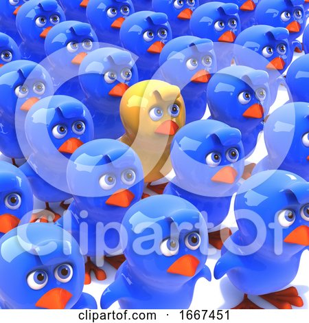 3d Yellow Chick Stands out from Crowd of Blue Chicks Posters, Art Prints