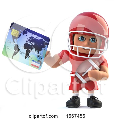 3d American Footballer Pays with a Debit Card by Steve Young