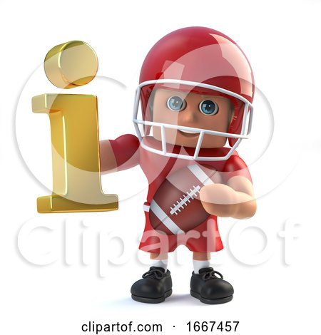 3d American Footballer Holding a Gold Information Symbol by Steve Young