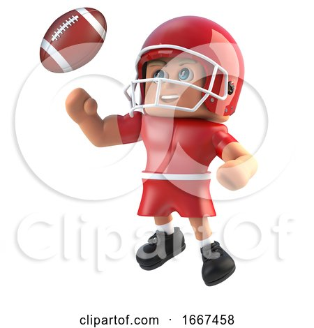 3d American Footballer Leaps for the Football by Steve Young