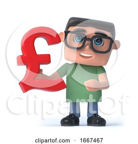 3d Boy in Glasses Holds UK Pounds Sterling Symbol by Steve Young