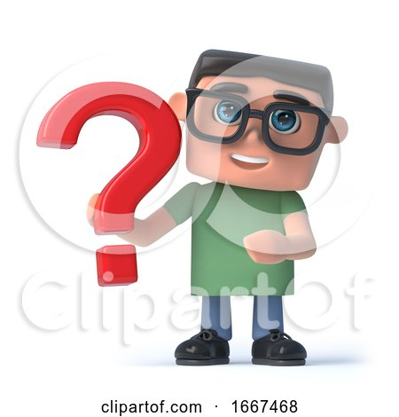 3d Boy in Glasses Holds a Red Question Mark by Steve Young