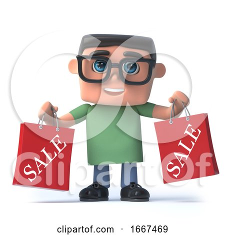3d Boy in Glasses Has Been to the Sales by Steve Young