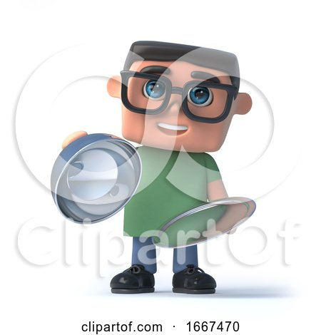3d Boy in Glasses with a Silver Tray by Steve Young