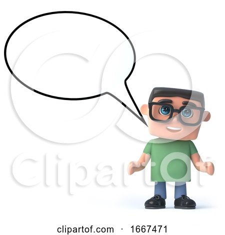 3d Boy in Glasses with a Speech Balloon by Steve Young
