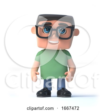 3d Nerd Stands Alert by Steve Young