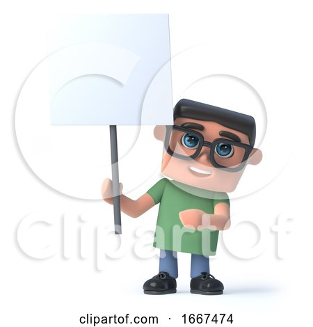 3d Boy in Glasses Holding a Blank Placard by Steve Young