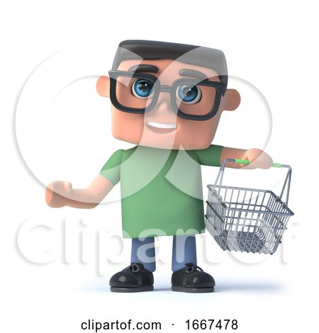 3d Boy in Glasses Goes Shopping by Steve Young