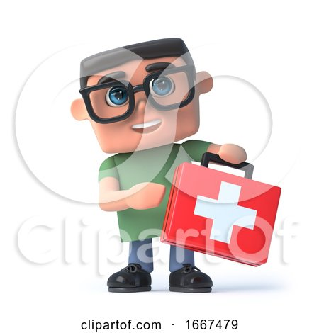 3d Boy in Glasses Holds a First Aid Kit by Steve Young