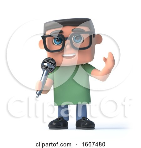 3d Boy in Glasses Sings into a Microphone by Steve Young