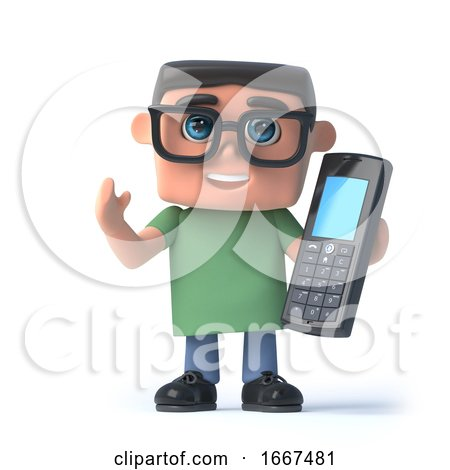 3d Boy in Glasses Talks on His Cellphone by Steve Young