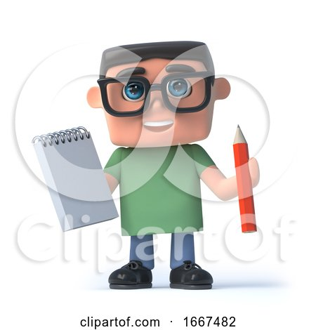 3d Kid in Glasses Has a Notepad and Pencil by Steve Young
