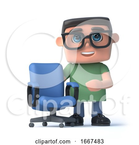 3d Kid in Glasses Next to an Empty Office Chair by Steve Young