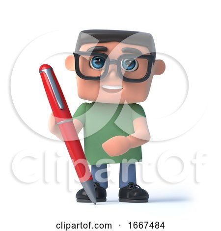 3d Boy in Glasses Writing with a Pen by Steve Young