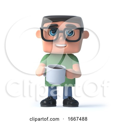 3d Boy in Glasses Drinking a Coffee by Steve Young