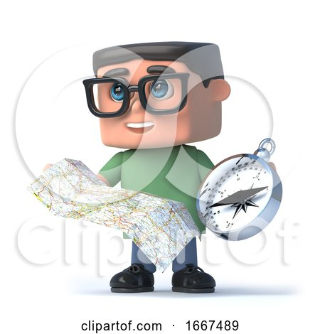 3d Boy Wearing Glasses Using a Compass and Map by Steve Young