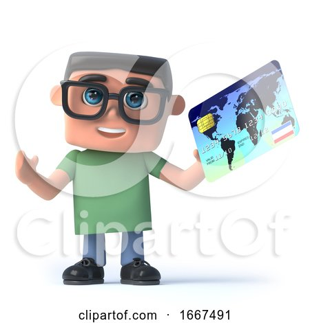 3d Boy Wearing Glasses Pays with a Credit Card by Steve Young