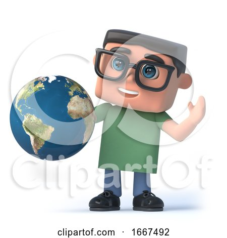 3d Boy in Glasses Holds a Globe of the Earth by Steve Young