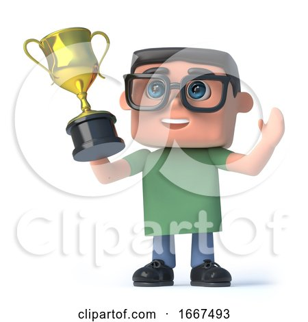 3d Boy in Glasses Wins the Gold Cup Trophy by Steve Young