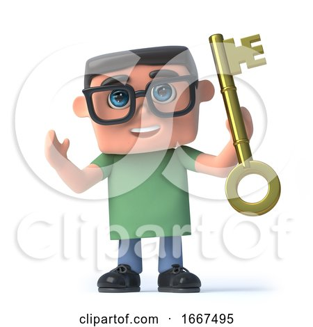 3d Boy in Glasses Holds a Gold Key of Success by Steve Young