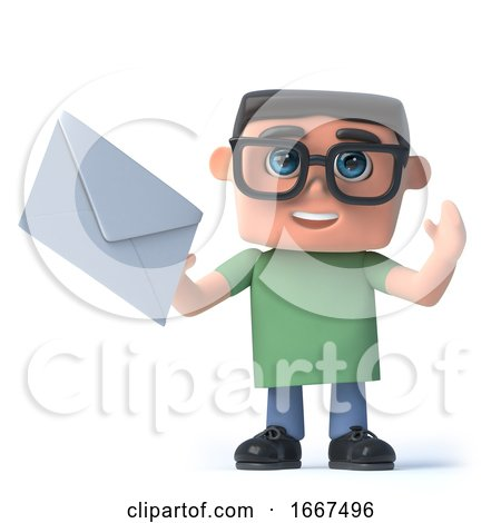 3d Boy in Glasses Has Mail by Steve Young