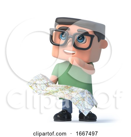 3d Boy in Glasses Uses His Map to Navigate by Steve Young