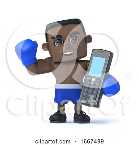 3d Black Boxer with a Mobile Phone by Steve Young