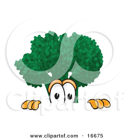 Clipart Picture of a Scared Green Broccoli Food Mascot Cartoon Character Peeking Over a Surface by Toons4Biz