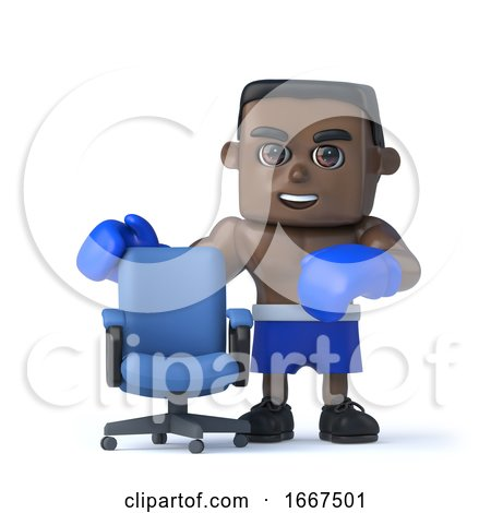 3d Black Boxer with Empty Office Chair by Steve Young