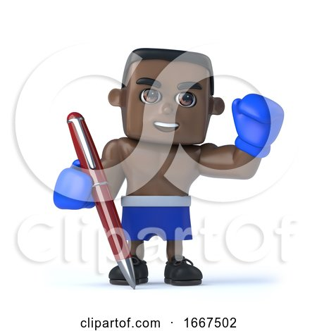 3d Black Boxer with a Pen by Steve Young