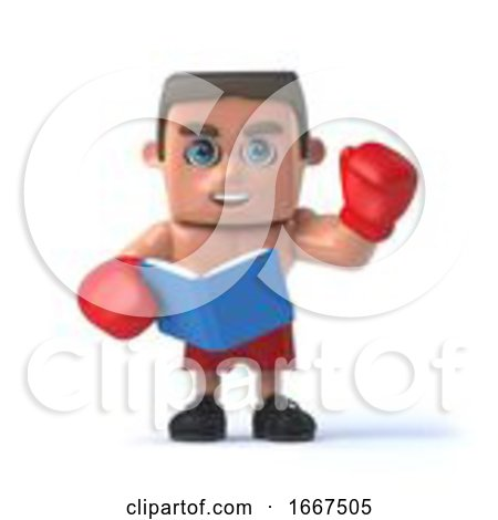 3d Boxer Reads a Book by Steve Young