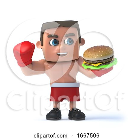 3d Boxer Enjoys a Burger by Steve Young