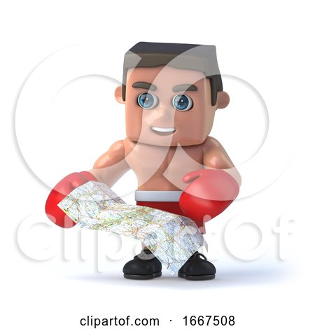 3d Boxer Looks at the Map for Directions by Steve Young