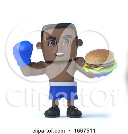 3d Black Boxer Has a Beef Burger by Steve Young